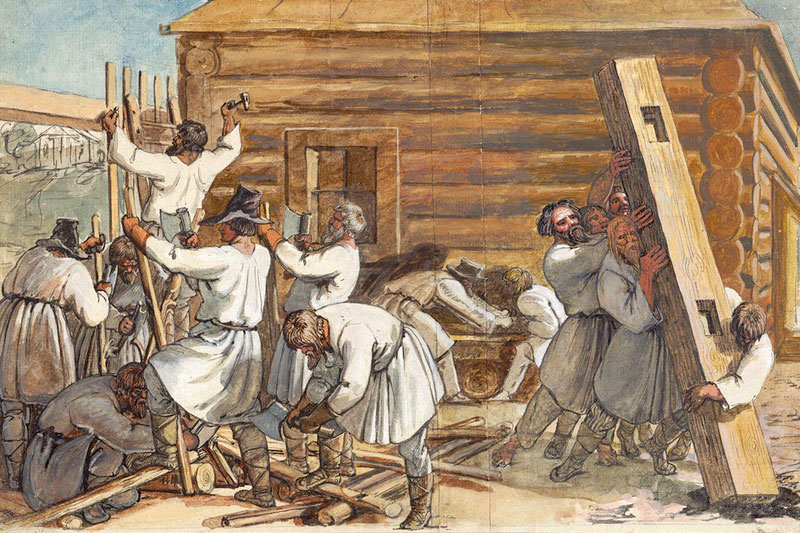 Русские крестьяне строят избу. Ганс Оэри. 1810-е гг.