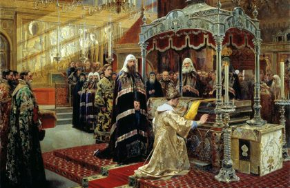 Царь Алексей Михайлович и Никон, архиепископ Новгородский у гроба чудотворца Филиппа, митрополита Московского.