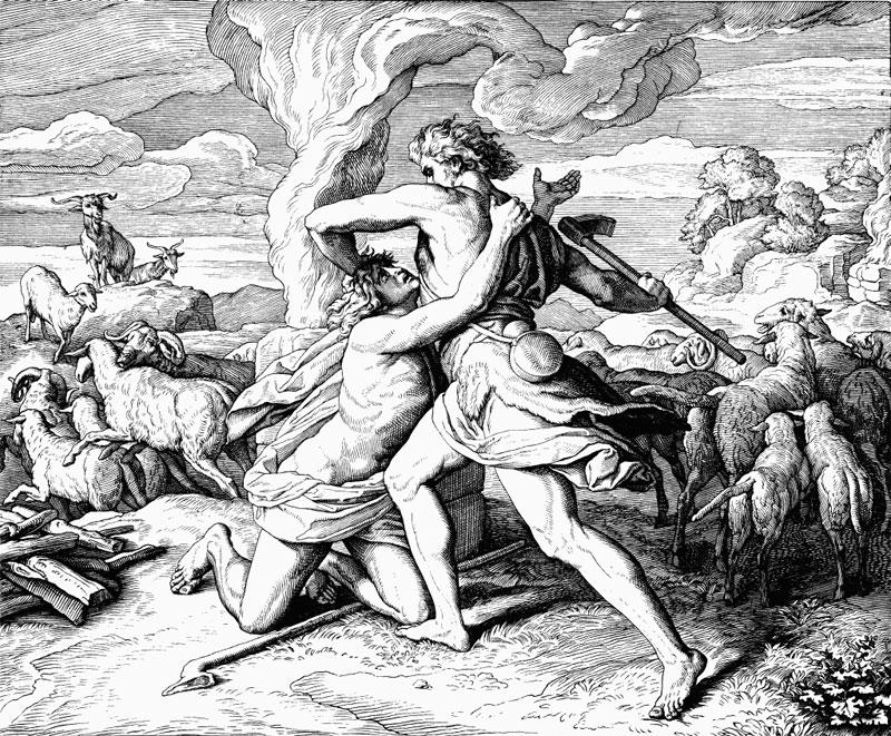 Каин убивает Авеля. Юлиус Шнорр фон Карольсфельд.
