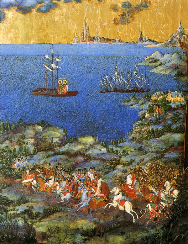 На фрагменте этой иконы XIX века изображена Невская битва