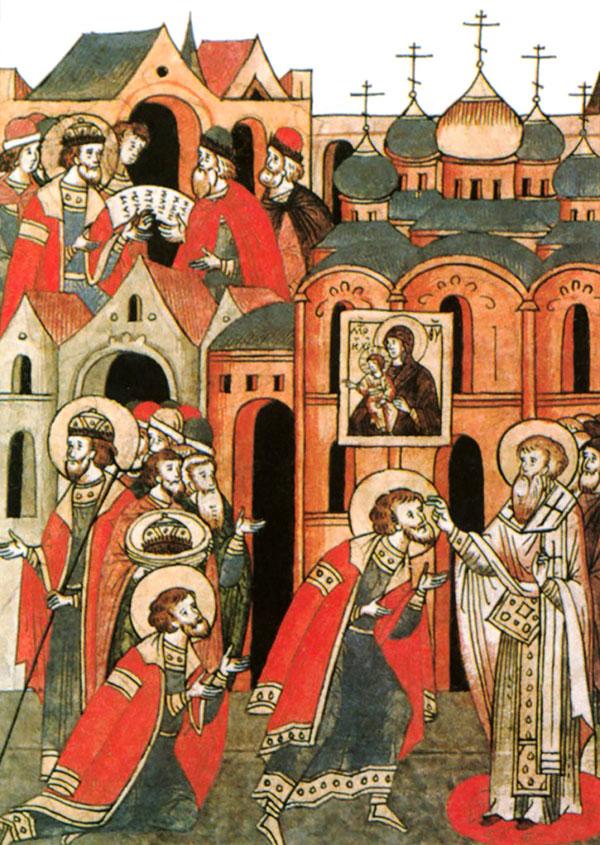 Князь Александр испрашивает благословение перед Невской битвой.