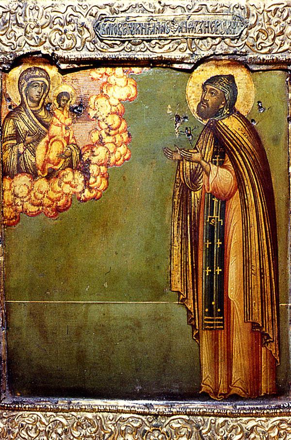 Александр Невский принимает постриг и молится как инок Алексий. Икона начала XVIII в.