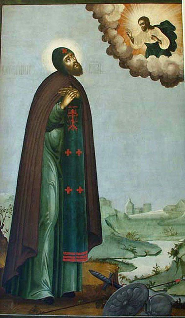 Благоверный князь Александр Невский молится Христу как простой монах.