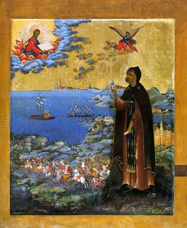 Александр Невский в схиме, молящейся Богу