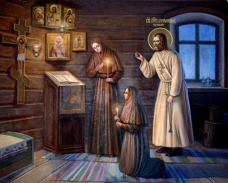 Преподобный Серафим с сёстрами Мельничной общины