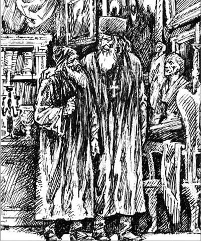 Иллюстрация М. Лисогорского к рассказу Н.С. Лескова «На краю света»