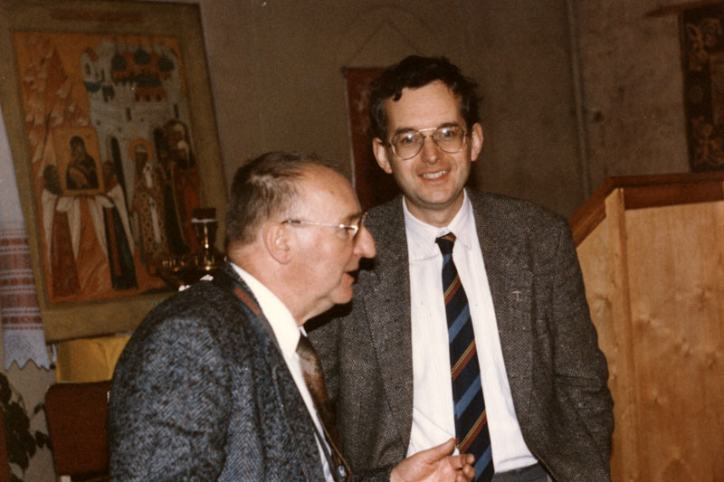 На Афанасьевских чтениях. Октябрь 1993 г. Анатолий Николаевич Афанасьев, священник Франсуа Эве
